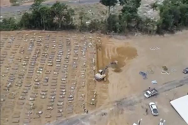 فیلم ، تراژدی کرونا در برزیل ، فاجعه گورهای دسته جمعی