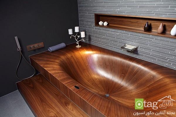 مدل وان حمام چوبی لوکس و شیک ، دکوراسیون حمام 2015