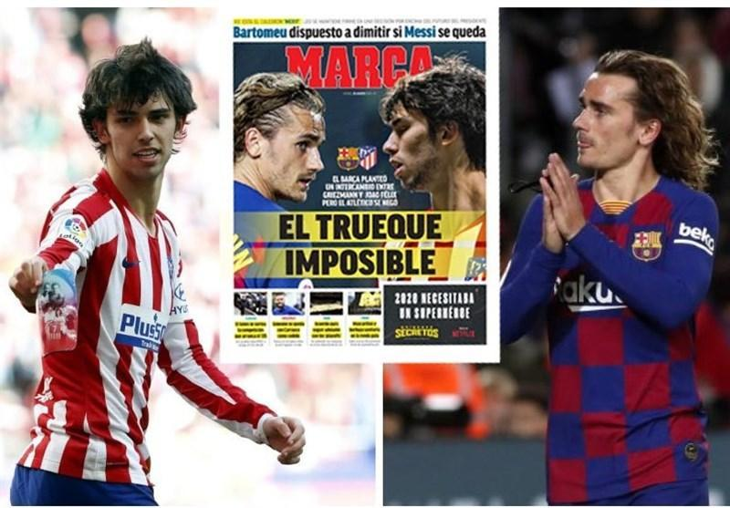 معاوضه بازیکن میان بارسلونا و اتلتیکومادرید منتفی شد، گریزمان در نوکمپ می ماند