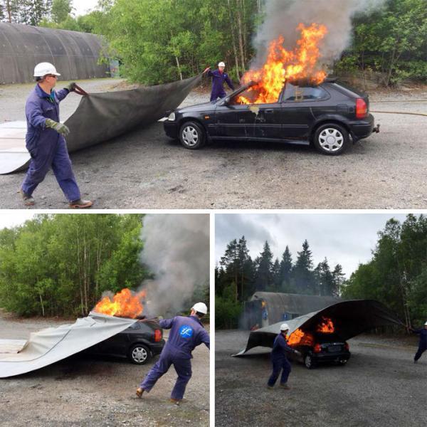 تست پتوی ویژه اطفا حریق خودرو در نروژ